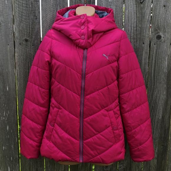 cc181087c Puma Hot Pink Puffer Coat with Hood Size S NWOT